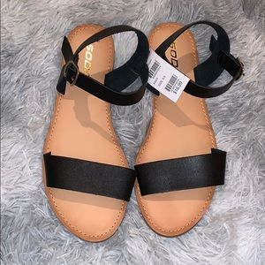 SODA black ankle strap sandal. 8.5